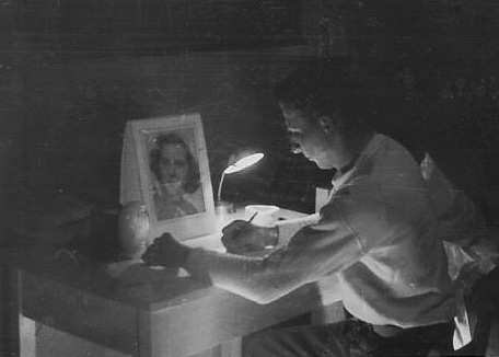 My father writing a letter to my mother in the early 1950s from Korea.