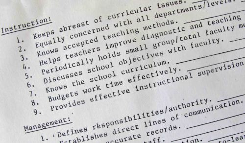 Portion of my 2-page principal evaluation instrument from the mid-1990s.