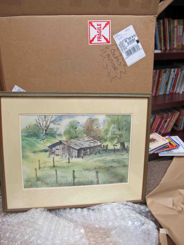 The painting was shipped with care.