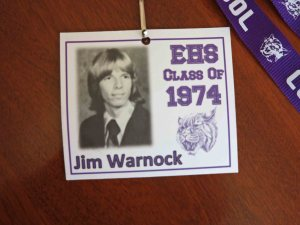 After 40-years, these name badges came in handy.  My parents just loved that hair style...
