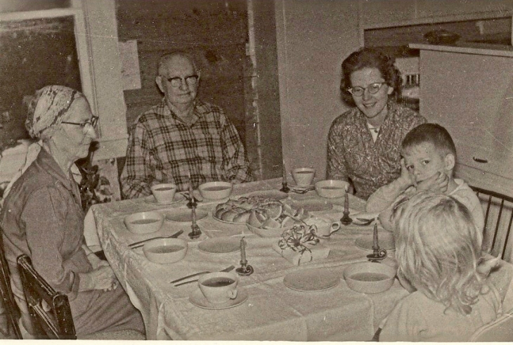 My grandmother, grandfather, mother, me, and my sister.  My daddy was probably taking this picture.