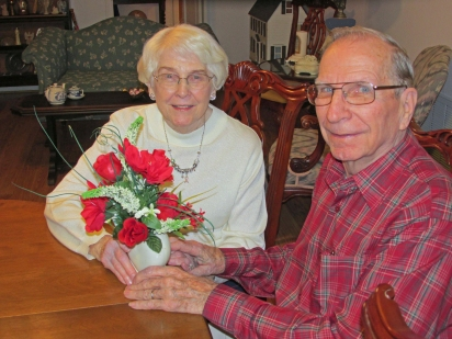 JC and Elsie with vase